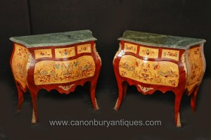 Pair italienne Rococo Bombe Commodes Chest Tiroirs