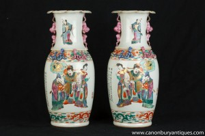 Paire chinois Kangxi porcelaine Urnes Planters