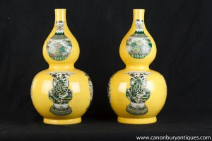 Paire chinoise Famille Rose Porcelaine Urnes Vases Bulbous Céramique