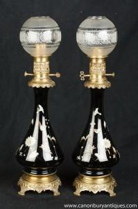 Paire français Art Nouveau porcelaine de table Lampes