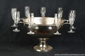 Silver Plate Français Cafe De Paris glace Seau à Champagne Glasses