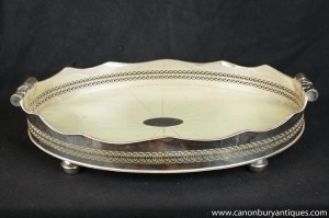 Victorienne Silver Plate Butlers Tray Galuchat Plat de service
