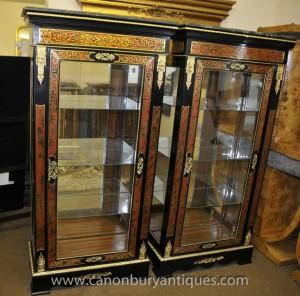 Affichage paire Louis XV Boulle Inlay verre Armoires Bibliothèque Bijouterie