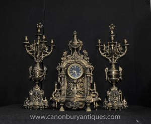 Antique Empire français Horloge Garniture Set Candélabres Ormolu