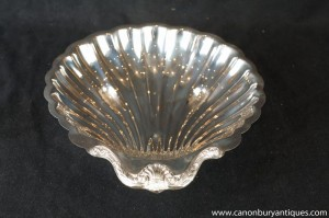 Antique Silver Plate Art Nouveau Conch Shell Tray Dish 1920