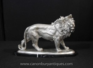Argent Bronze Lion statue Chats Animaux Castings