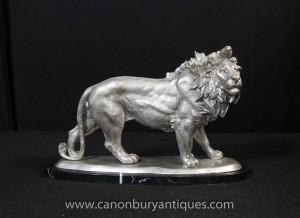 Argent Bronze Lion statue Chats Animaux Castings