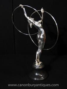 Art déco français Argent Bronze Hoop Dancer Statue Leverrier