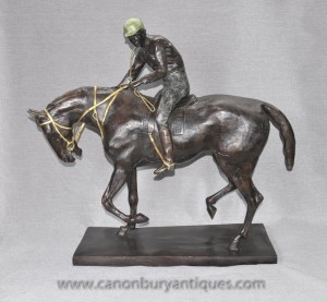 Big français Bronze Horse and Jockey Statue par Mene