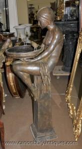 Bronze Art Déco Biba Fille fontaine Statue Figurine