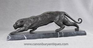 Français Castings Bronze Art Déco Puma Panther Statue de chat