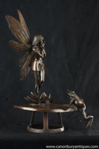 Frog Fée Art Nouveau Bronze Eau Fontaine Pixie