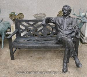 Grand Banc Bronze Jardin avec LifeSize Albert Einstein Statue