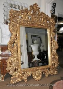 Grand baroque italien Pier Gilt verre miroir Miroirs