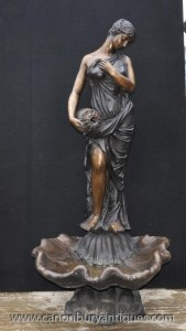 Italienne Feature Castings Bronze XL Maiden Fountain Statue Amphora eau