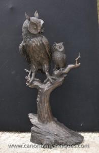 Lifesize Bronze Tawny Owl Barn et Owlet Statue Oiseaux Sculpture Prey