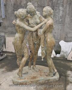 Lifesize Trois Grâces Bronze Statue Femme nue grecque Figurine