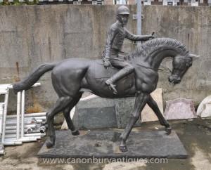Lifesize français Bronze Horse and Jockey Statue par Bonheur