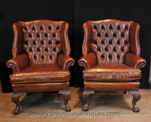 paire antique anglais wingback fauteuils chesterfield fauteuil en cuir. Black Bedroom Furniture Sets. Home Design Ideas