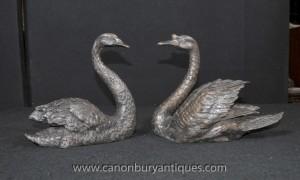 Paire Bronze anglais cygnes cygnes royaux Oiseaux Statue