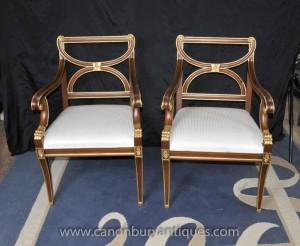 Paire Empire français fauteuils fauteils Gilt Terminer