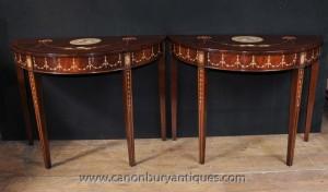 Paire Sheraton Peint Tables console en acajou Regency Meubles