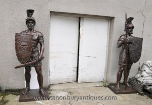 Paire XL Bronze gladiateur romain Statues Soldier Architectural Antiques
