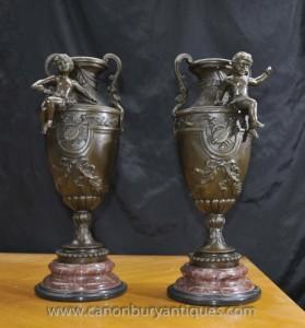 Paire français Bronze Cherub Amphora Urnes Signé S.Fondeurs Signés