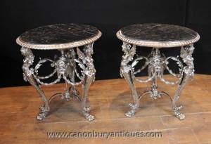 Paire français Tableaux Silver Plate Side Louis XV Meubles