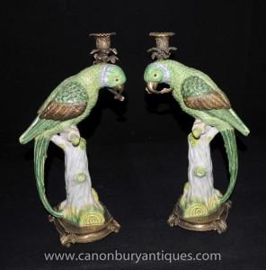 Paire française Parrot Candélabres Porcleain et bronze doré Bougies
