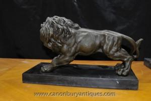 Paire italienne Lions de bronze Lion Gatekeeper Statue