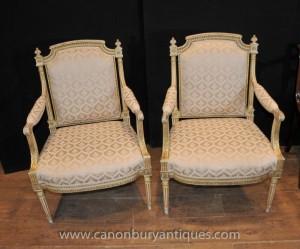Paire peinte Empire français fauteuils président fauteils Peints