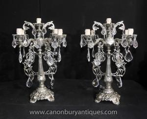 Paire victorienne Argent Plate Candélabres Lampes de Table Lustres Lumière