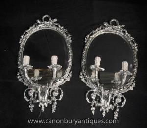 Paire victorienne Argent Plate Girandoles Candelabra Miroirs Miroir