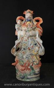 Porcelaine chinoise Sage Figurine main Statue de poterie peinte