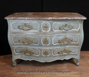 Provincial du 18ème siècle français Bombe Commode Commode tiroirs de meubles anciens