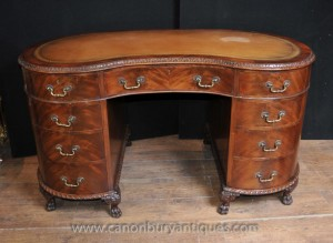 Regency rein Antique bureau Table meubles en acajou