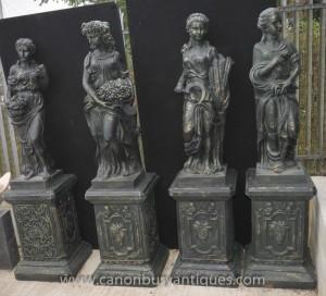 Set 4 XL français Four Seasons Femme Maidens Statues sur des piédestaux