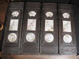 Set 4 sculpté à la main en porcelaine chinoise Plaques Écrans Peintures Art Oriental