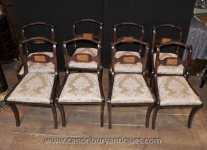 Set 8 acajou Regency Backs Chaise de corde