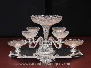 Sheffield Silver Plate Centrepiece verre épergne Platter victorienne