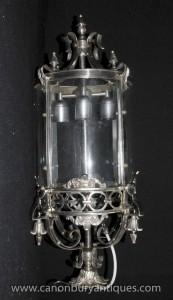 Silver Plate français Lantern Light Chandelier