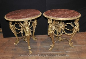 Tableaux Paire Louis XV Ormolu Maiden secondaires de table français