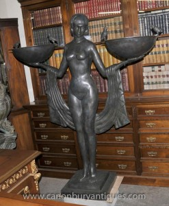 XL Art Deco Bronze Biba Statue Fille Odalisque Figurine