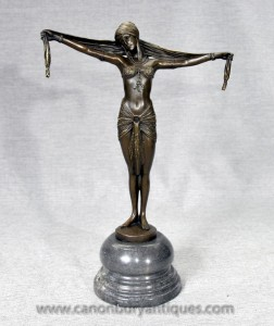 1920 Art Dh Chiparus Français Deco Bronze Dancer Figurine