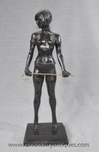 Allemand Bronze érotique Dominatrix Statue Bruno Zach Nu