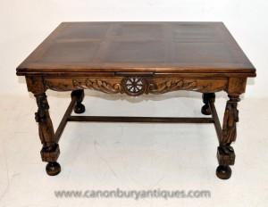 Antique français provincial Oak Extension table à manger pieds sculptés Tables Réfectoire