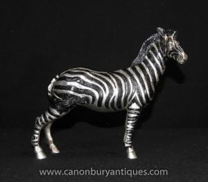 Art déco français Argent Bronze Zebra Statue