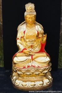 Big Bouddha en bronze doré au mercure tibétain Statue Lotus Pose bouddhisme bouddhiste Art