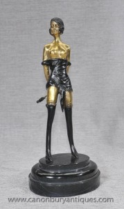 Bronze français casting érotique Dominatrix Figurine Whiplash